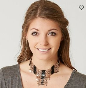 NWT BOHO BLACK GOLD NECKLACE